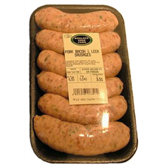 Wenlock Edge Pork, Bacon & Leek Sausages
